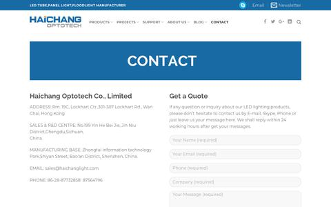 Screenshot of Contact Page haichanglight.com - Contact LED lighting products supplier - Haichang Optotech - captured Sept. 25, 2018