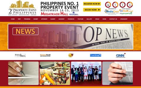 Screenshot of Press Page propertyexpo.ph - Property Expo Philippines - captured March 18, 2016