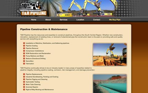 Screenshot of Services Page trpipe.com - Pipeline Construction and Maintenance | T&R Pipeline - captured Oct. 7, 2014