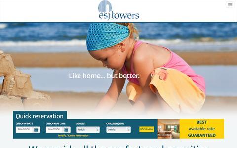 Screenshot of Home Page esjtowers.com - Puerto Rico Beach Hotel - ESJ Towers - captured July 17, 2015