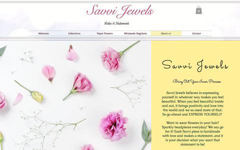Screenshot of About Page savvijewels.com - Savvi Jewels, About Savvi, San Diego - captured July 28, 2018