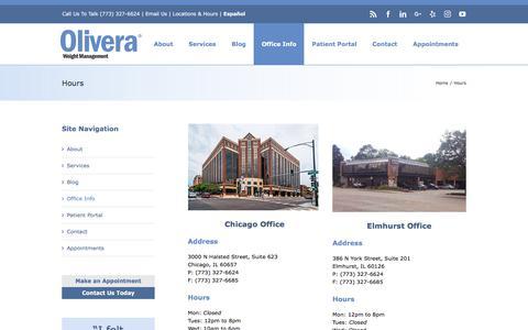 Screenshot of Hours Page olivera.com - Hours - Olivera Weight Management - captured Oct. 23, 2017