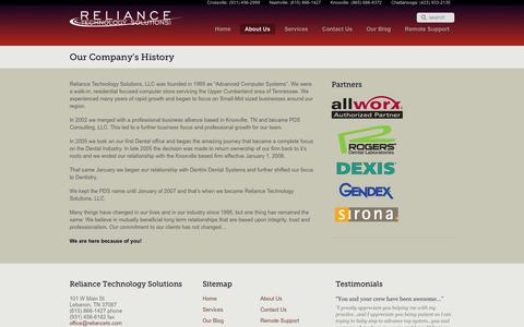 Screenshot of About Page reliancets.com - Our Company's History | Reliance Technology Solutions LLC - captured Oct. 6, 2014