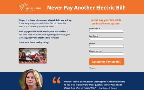 Screenshot of Landing Page bakerelectricsolar.com - Never Pay Another Electric Bill! - captured Oct. 29, 2016