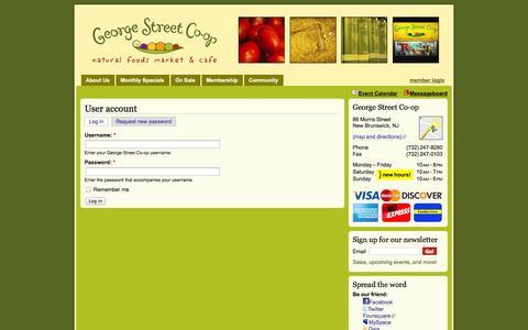Screenshot of Login Page georgestreetcoop.com - User account   George Street Co-op - captured Oct. 1, 2014