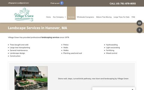 Screenshot of Services Page villagegreenlandscapeinc.com - Landscaping Company, Lawn Maintenance | Hanover, MA - captured Oct. 18, 2018