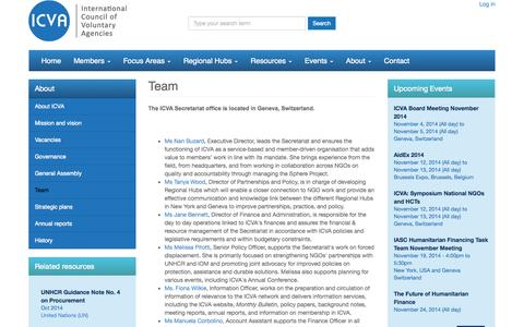 Screenshot of Team Page icvanetwork.org - Team | International Council of Voluntary Agencies - captured Nov. 3, 2014