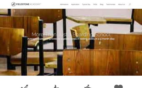 Screenshot of Home Page fieldstoneacademy.org - Utah Boarding Schools | Fieldstone Academy - captured Sept. 30, 2014