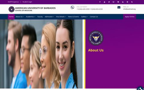 Screenshot of About Page aubmed.org - About | American University of Barbados - captured Nov. 12, 2018