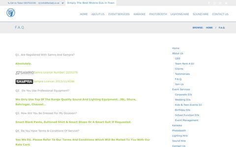 Screenshot of FAQ Page rentadj.co.za - F.A.Q. – Rent A DJ - captured Dec. 16, 2016