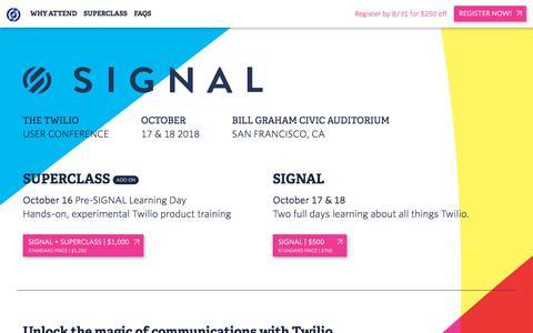 Screenshot of twilio.com - SIGNAL – The Twilio User Conference –October 17 & 18 - captured July 7, 2018