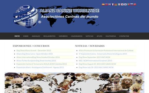 Screenshot of Home Page alianzfederation.org - Inicio   Organización Canina Internacional Alianz Canine WorldWide - captured Oct. 16, 2015