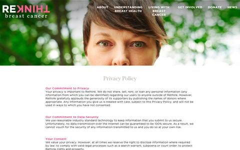 Screenshot of Privacy Page rethinkbreastcancer.com - Privacy Policy - Rethink - captured Oct. 1, 2015