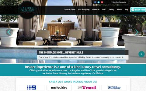 Screenshot of Home Page insiderexperience.com - Insider Experience | The ultimate NY and LA experience! - captured Jan. 8, 2016