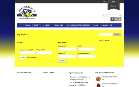 Screenshot of Login Page marionkay.com - My Account | Marion Kay Spices - captured Oct. 26, 2014