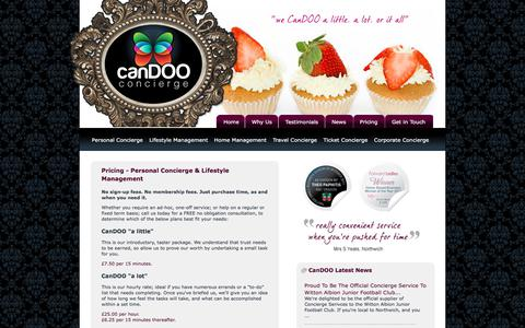 Screenshot of Pricing Page candooconcierge.com - Pricing CanDOO's Concierge Services - CanDOO Concierge West Cheshire - captured July 13, 2018