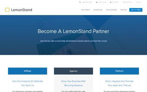 Screenshot of lemonstand.com - Partner Up With The Best eCommerce Platform | LemonStand - captured March 19, 2016