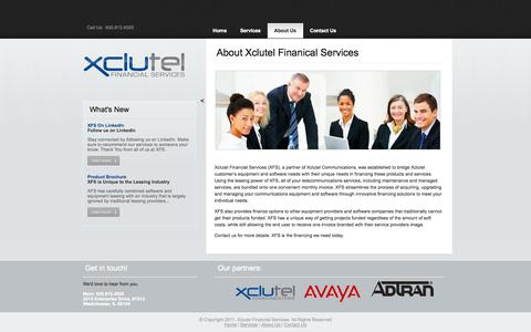 Screenshot of About Page xfsleasing.com - Xclutel Financial Services| About Us - captured Oct. 4, 2014
