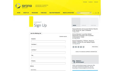Screenshot of Signup Page sironabiochem.com - Sign Up « Sirona Biochem - captured Sept. 17, 2014