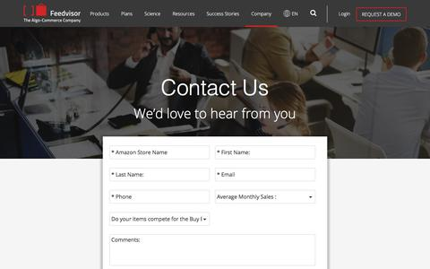 Screenshot of Contact Page feedvisor.com - Contact Us - Feedvisor - captured Dec. 1, 2017