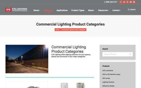Screenshot of Products Page eyelighting.com - Commercial Lighting Product Categories – EYE Lighting - captured Sept. 26, 2018