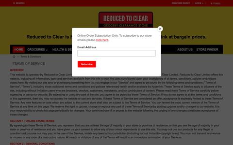 Screenshot of Terms Page reducedtoclear.co.nz - Online Grocery Shopping | Grocery Clearance Store NZ | Reduced To Clear Terms & Conditions - captured Jan. 25, 2018