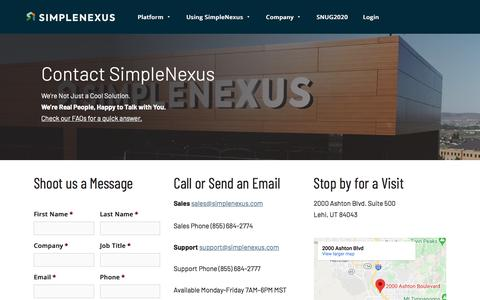 Screenshot of Contact Page simplenexus.com - Customer Support and Sales Questions - Contact Us | SimpleNexus - captured Feb. 24, 2020