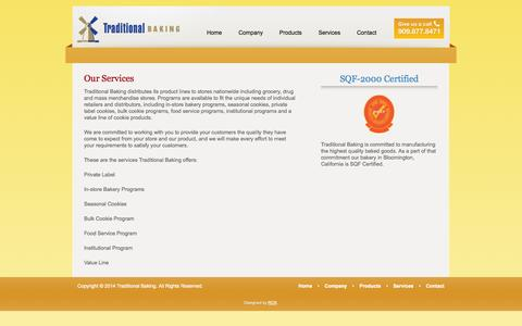 Screenshot of Services Page traditionalbaking.com - Our Services | Traditional Baking - captured Oct. 6, 2014