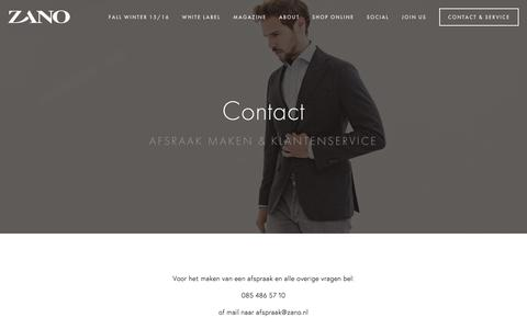 Screenshot of Contact Page zano.nl - Contact & Service Ń Zano | A World of Personal Tailoring - captured Jan. 10, 2016