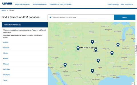 Screenshot of Support Page umb.com - UMB Bank Locations - captured July 3, 2019