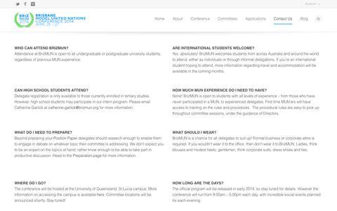 Screenshot of FAQ Page brizmun.org - FAQs - Brisbane Model United Nations Conference   BrizMUN - captured Oct. 27, 2014