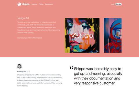 Screenshot of Case Studies Page goshippo.com - Vango Art Case Study | Shippo - captured Oct. 20, 2017