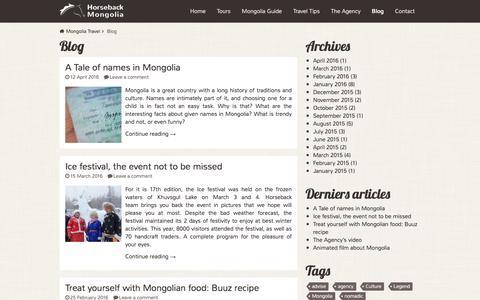 Screenshot of Blog mongolia-trips.com - Blog Archives - Horseback Mongolia - captured May 14, 2016