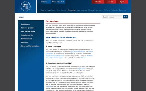 Screenshot of Services Page artslaw.com.au - Arts Law : Our services - captured Sept. 23, 2014
