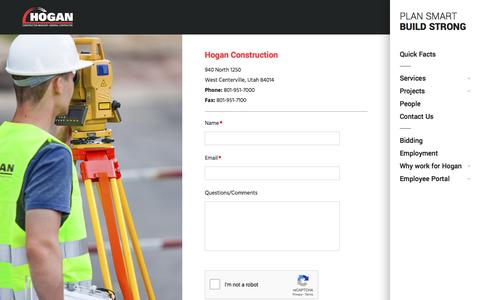 Screenshot of Contact Page hoganconstruction.com - Contact Us | Hogan & Associates Construction, Inc. - captured July 2, 2019