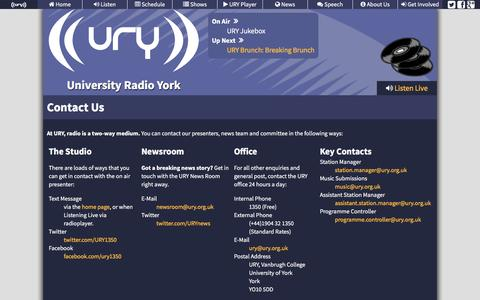 Screenshot of Contact Page ury.org.uk - University Radio York - Contact Us - captured Feb. 13, 2016