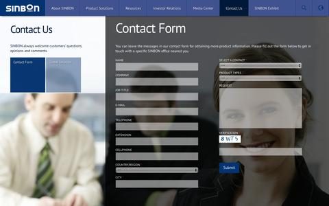 Screenshot of Contact Page sinbon.com - Contact Form | SINBON | Solution Provider, Assembly Manufacturing - captured Oct. 22, 2018