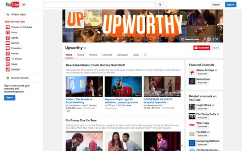 Screenshot of YouTube Page youtube.com - Upworthy  - YouTube - captured Oct. 22, 2014