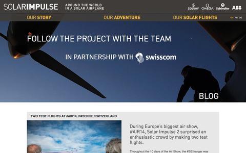 Screenshot of Blog solarimpulse.com - SOLAR IMPULSE - Blog - captured Sept. 19, 2014