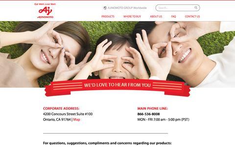 Screenshot of Contact Page ajifrozenusa.com - Contact Us - captured July 9, 2018