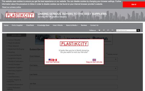 Screenshot of Signup Page plastikcity.co.uk - Sign up for our newsletters & promotions | PlastikCity - captured Dec. 15, 2018
