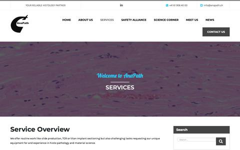 Screenshot of Services Page anapath.ch - Services – Welcome to AnaPath - captured Oct. 3, 2018