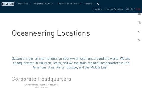 Screenshot of Locations Page oceaneering.com - Locations | Oceaneering - captured Nov. 10, 2018