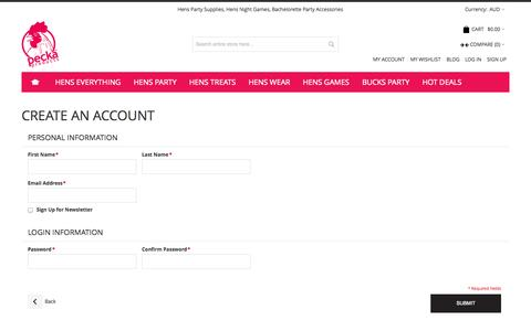 Screenshot of Signup Page peckaproducts.com.au - Create New Customer Account - captured Sept. 29, 2014