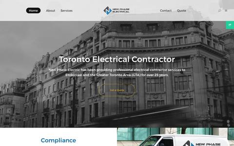 Screenshot of Home Page newphaseelectric.ca - New Phase Electrical Services | Toronto Electrical Contractor - captured Oct. 19, 2018