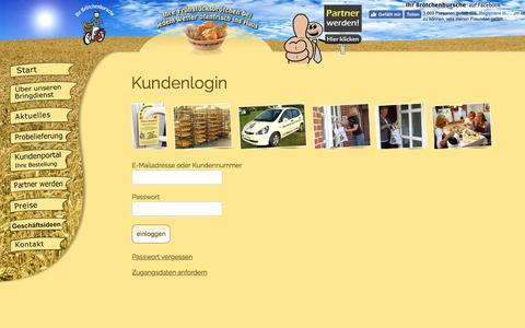 Screenshot of Login Page broetchenbursche.de - Kundenlogin vom Brötchenburschen - captured Oct. 14, 2017