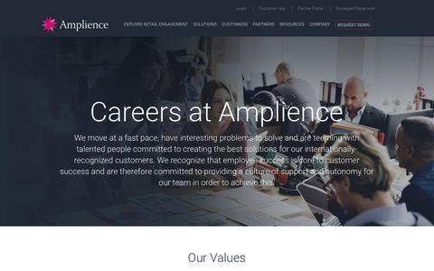 Screenshot of Jobs Page amplience.com - Careers - Amplience - captured July 12, 2018