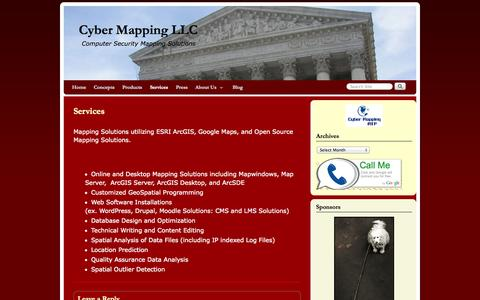 Screenshot of Services Page cybermapping.net - Services | Cyber Mapping LLC - captured Oct. 3, 2014