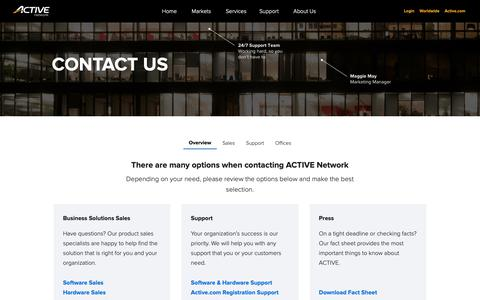 Screenshot of Contact Page activenetwork.com - (1) New Message! - captured April 25, 2019