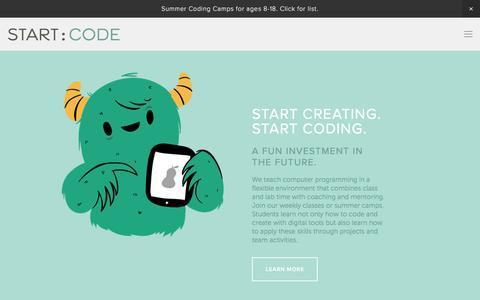 Screenshot of Home Page startcode.net - Start Code - captured June 17, 2017
